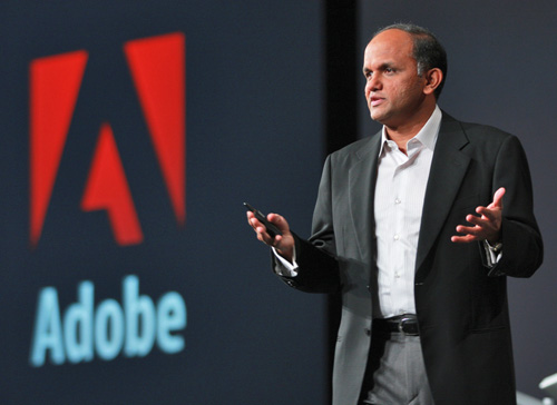 AdoMax-05 - Adobe Systems Inc. President and CEO Shantanu Narayen outlines the company's vision, Monday, Nov. 17, 2008, at Adobe's annual MAX conference in San Francisco. The MAX event drew over 5,000 attendees and highlighted technology innovations spanning multiple mediums and screens such as computers, handheld devices and televisions. (Photo for Adobe by Court Mast, Mast Photography, Inc., San Francisco) (www.mastphotography.com)